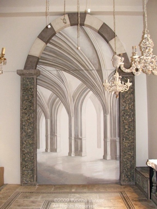 Trompe l'oeil Arches Mural. Linda Horn, LLC, Madison Ave, New York