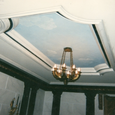 Sky Ceiling; and Faux Marble on the walls