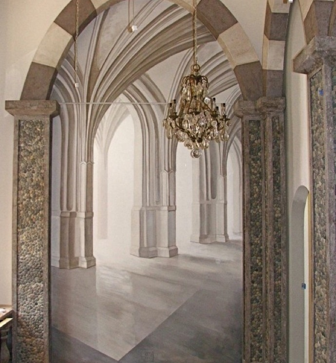 "Trompe l'oeil ""Arches"" Mural. Linda Horn, LLC, Madison Ave, NYC"