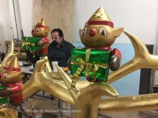 Animatronics engineer Eric Humphreys is programming the elves' choreography.