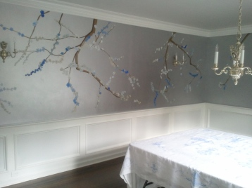 Cherry Blossom Mural, Pelham Manor dining room