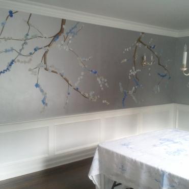 Cherry Blossom Mural, Pelham Manor dining room