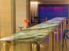 Philippe Starck Table - Gilded legs. Mondrian Hotel, Los Angeles
