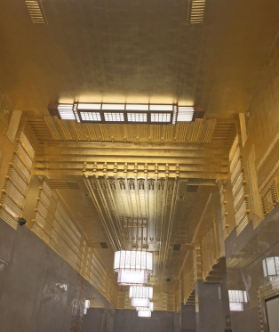AFTER  -  Properly applied Gold Leaf on 2,000 sq. ft. Art Deco Lobby Ceiling.