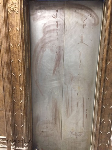 Doors were stripped of their old paint layers down to the metal