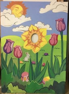Easter event: sandwich board at Rockefeller Center